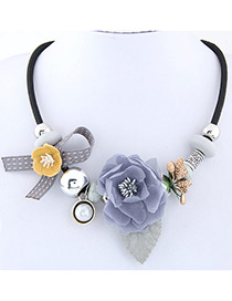 Elegant Gray Flower Deocrated Color Matching Simple Necklace