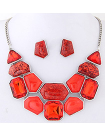 Fashion Red Geometry Shape Decorated Color Matching Jewelry Set