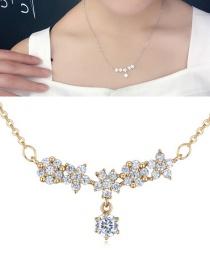 Fashion Gold Color Flower Shape Pendant Decorated Necklace