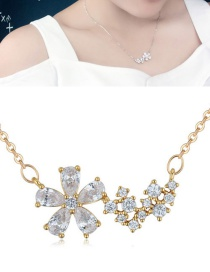 Fashion Gold Color Flower Shape Pendant Decorated Necklace