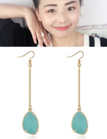 Fashion Light Green Stone Shape Pendant Decorated Earrings