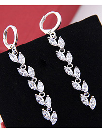 Elegant Zircon Leaf Shape Decorated Long Earrings