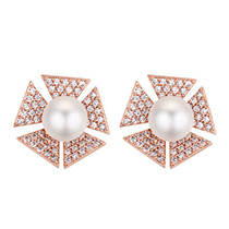 Elegant Zircon Triangle Shape Decorated Earrings