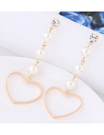 Lovely Gold Color Heart Shape Pendant Decorated Earrings