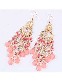 Trendy Pink Long Tassel Decorated Pure Color Earrings