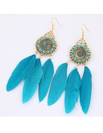 Trendy Blue Feather Decorated Pure Color Earrings