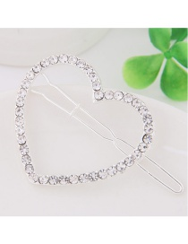 Fashion White Full Diamond Decorated Heart Shape Hairpin