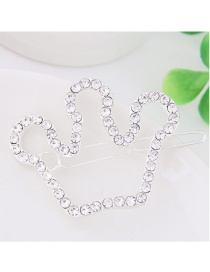 Fashion White Full Diamond Decorated Crown Shape Hairpin