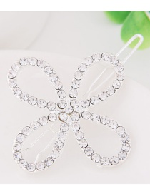 Fashion White Full Diamond Decorated Flower Shape Hairpin