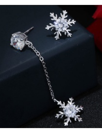 Sweet Silver Color Snowflake Decorated Pure Color Asymmetric Earrings