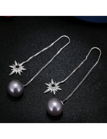 Sweet Dark Gray Stars&pearls Decorated Pure Color Long Earrings
