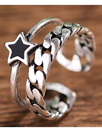 Fashion Antique Silver Stars Decorated Pure Color Opening Ring