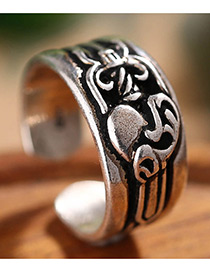 Fashion Antique Silver Flower Pattern Decorated Opening Ring