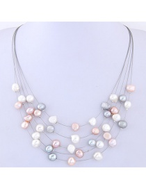 Fashion Multi-color Pearls Decorated Multi-layer Necklace