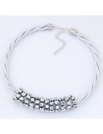 Fashion White Diamond Decorated Multi-layer Necklace