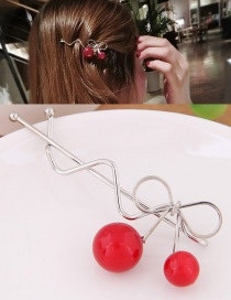 Fashion Silver Color Cherry Shape Decorated Simple Hairpin