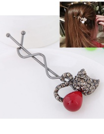 Sweet Red Cat Shape Decorated Simple Hairpin