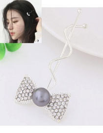 Sweet Silver Color Bowknot Shape Decorated Simple Hairpin