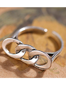 Fashion Antique Silver Circular Ring Shape Decorated Simple Ring