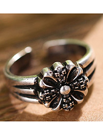 Fashion Antique Silver Flower Shape Decorated Pure Color Opening Ring