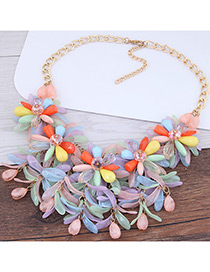 Fashion Yellow Flower Shape Decorated Color Matching Necklace