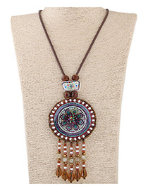 Fashion Brwon Bead Pendant Decorated Color Matching Necklace