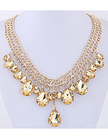 Elegant Yellow Diamond Decorated Water Drop Shape Pure Color Necklace