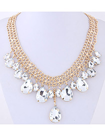 Elegant Gold Color Diamond Decorated Water Drop Shape Pure Color Necklace