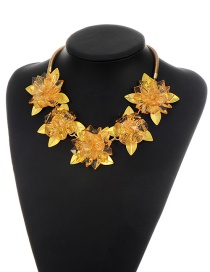 Fashion Yellow Flower Decorated Simple Short Chain Necklace
