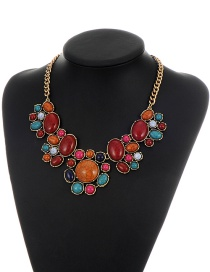 Vintage Red+orange Round Shape Decorated Simple Short Chain Necklace