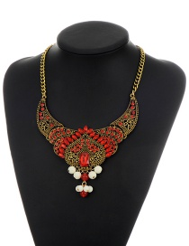 Vintage Red Heart Shape Decorated Simple Hollow Out Necklace