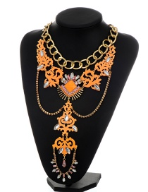 Exaggerate Orange Totem Shape Decorated Simple Holow Out Short Chain Necklace