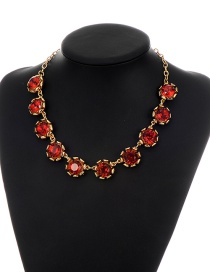 Vintage Red Round Shape Diamond Decorated Simple Short Chain Necklace