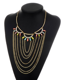 Fashion Gold Color Metal Tassel Decorated Simple Short Chain Necklace
