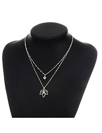 Fashion Silver Color Metal Leaf Pendent Decorated Double Layer Necklace