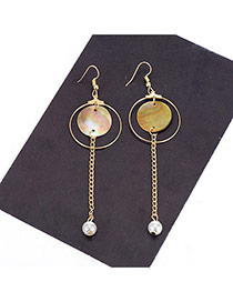 Vintage Gold Color Round Shape Pendant Decorated Simple Earrings