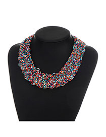 Retro Multi-color Round Shape Decortaed Simple Short Cahin Necklace
