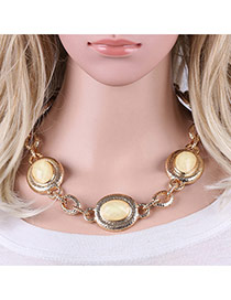 Fashion White Round Shape Gemstone Decorated Simple Short Chain Necklace