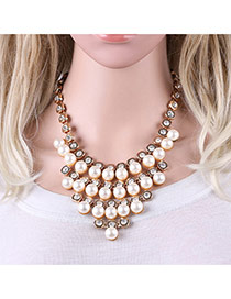 Fashion Gold Color Round Shape Pendant Decorated Multilayer Necklace