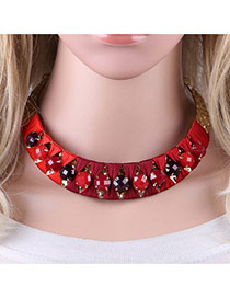 Personality Red Round Shape Decorated Simple Short Chain Necklace