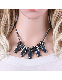 Personality Gray Square Shape Decorated Simple Short Chain Necklace