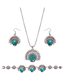 Lovely Green Peacock Shape Pendant Decorated Simple Jewelry Sets