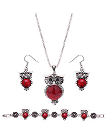 Lovely Red Owl Shape Pendant Decorated Simple Jewelry Sets