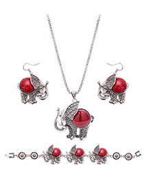 Lovely Red Elegant Shape Pendant Decorated Simple Jewelry Sets