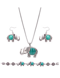 Lovely Green Elegant Shape Pendant Decorated Simple Jewelry Sets