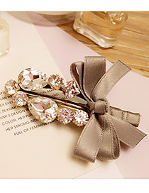 Elegant Gray Bowknot Shape &oval Shape Diamond Decorated Simple Hairpin