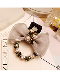 Lovely Gray Bowknot Shape &round Shape Diamond Decorated Simple Hairpin