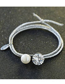 Elegant White Pearls&diamond Decorated Multi-layer Hair Band
