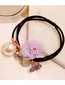 Elegant Purple Flower&pearl Decorated Multi-layer Hair Band