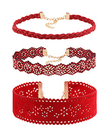 Vintage Red Hollow Out Decorated Simple Pure Color Choker